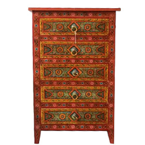 indian hand painted wooden cupboard