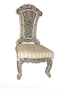 camel bone inlay wooden chair