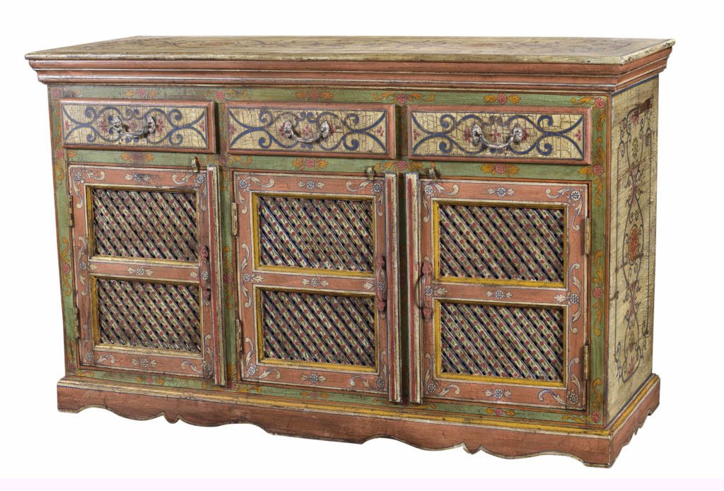 hand painted wooden handicraft cabinet