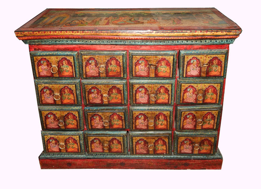 Indian Wooden Miniature Painted Furniture Drawer Cupboard